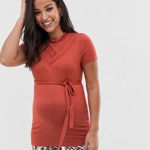NWT Maternity Jersey Top With Lace Insert In Rust